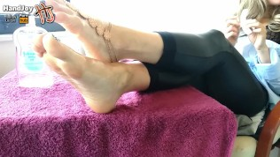 HandJoy * Goddess Hira bored and ignored footfuck while she is relaxing