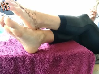 The Adult Video Experience Presents HandJoy * Goddess Hira bored and ignored footfuck while she is relaxing