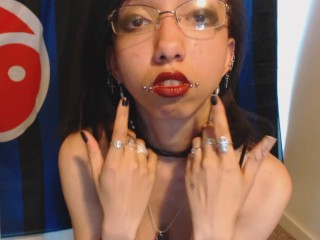 Goth with Red Lipstick Drools a Lot and Blows Spit Bubbles - Spit Fetish