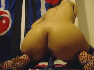 The Swinger Experience Presents Stripping Panties off Hairy Pussy and Riding Dildo from the Back