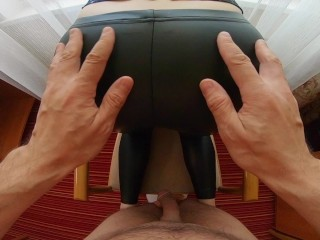 Hairy Ginger Pussy got REALLY WET when he Fucked me in Leather Latex Pants