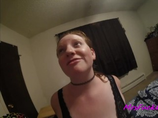 Submissive redhead cums and squirts during anal