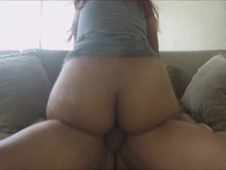 Huge Anus Red Head Blow together with Ride a Large Guy In The Living Room