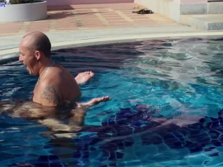 Pool sex compilation: anal creampie, cum on ass, cum in pool