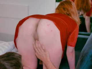 Facefuck Orgasm and Screaming DoggyStyle - Big Ass Ginger in Red Dress