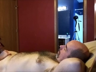 George Lays Back While Missy Licks His Balls and Sucks His Uncut Dick