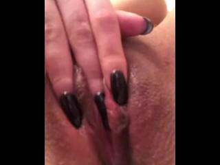 Horny girl fucks herself after shower
