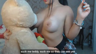 Horny Latina Teen Plays Naughty Games With Her Teddy Bear