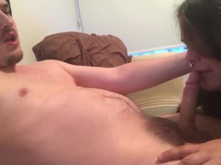 Vocal Moaning Guy Made to Cum by His GF! Wonderful Cock licking! Immense Cumshot