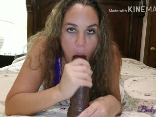 Sexy mother moans loudly sucking and fucking her BBC dildo