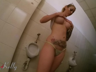 Quick fuck with my colleague in the office public restroom . WetKelly