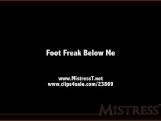 Mistress T lucky guy clean his cum off her feet