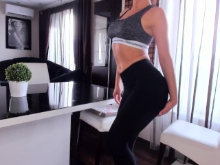 Young fit girl - back horny from the gym