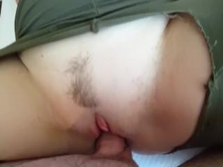 Schoolgirl with massive anus smashes thru leggings in lodge room
