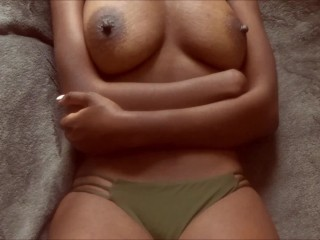 TITFUCK - ebony big natural boobs fucked and covered with cum
