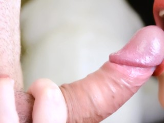 I give a close up blowjob and huge cum in my mouth – Hot milf cum play
