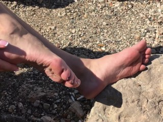 Beautiful Ksenia's Feet By The Sea. Sexiest Soles And Toes