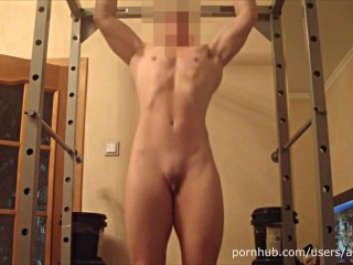 Naked Pull Up, Posing, Flexing, ABS workout, Masturbation Muscle Girl ANOUK