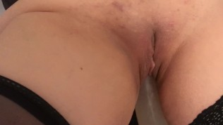 Attached, she's fucked by 8 inch dildo, vibrator, dick and she squirt