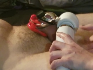 Pathetic sissy has a caged wrecked orgasm in The Vice Mini