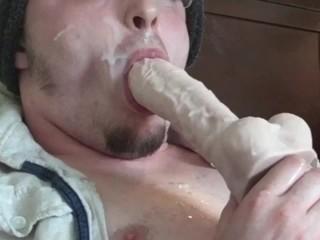 Big Thick Cumload Self Facial! Sucking Dildo & Licking Cum! Cumshot Rating