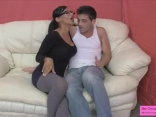 Jasmine Shy Fucks Lance in the Ass and He Cums on Her Big Tits