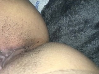 Teen masturbating and creaming quietly out of her thick unshaved vagina