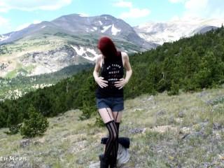 Mountain Bad Dragon Dildo Fucking - Horny Redhead Outdoors