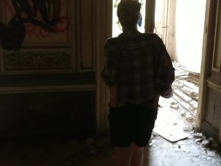 Tinder date idea: Public sex in an abandoned building - dripping creampie