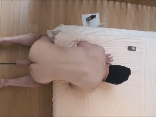 Fuck machine - dildo (almost) too big for straight guy, with ass to mouth