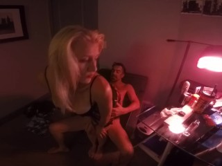 Hot Blonde Babygirl Gives Daddy a Lap dance and Sucks his Big Cock