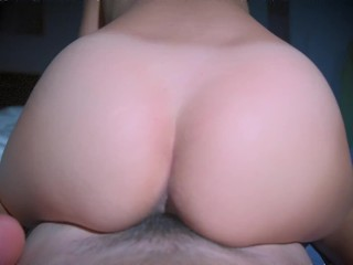 Reverse cowgirl fucked guy, big head cock creampie twice - POV video