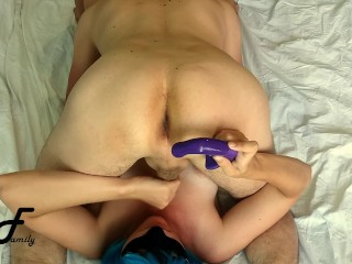 Prostate massage with vibrator during blowjob, cum on tits ~DirtyFamily~