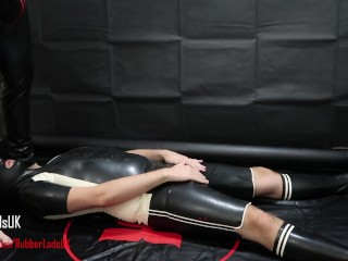 RUBBER DADDY PISSES AND BREEDS IN RUBBER SUB WHORE WITH BIG CUM SHOT!
