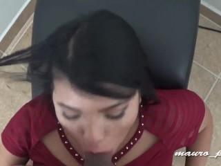 sexy latina without panties, fucks and sucks like a pro