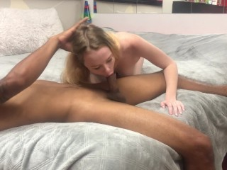 BLONDE TEEN RIDES BBC AND GETS A HUGE CREAMPIE! 4K INTERRACIAL