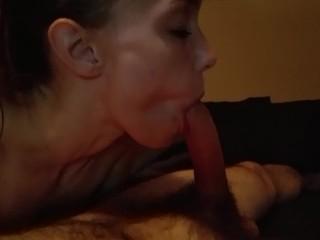 Sexy girl deep throats big cock