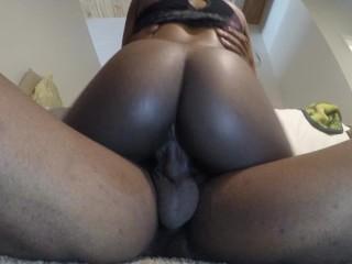 Ebony gf Bounce Phat Ass on Black Pole