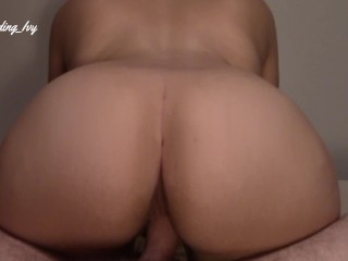 MILF with big ass rides dick gets creampie
