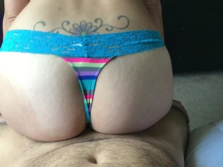 Pawg sitting on fat dick grinding! Gets a dripping creampie in pussy