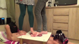 CBT Trample with two cruel ladies – part 2 (they destroy cockbox)