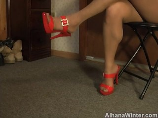 Red Shoes in Nylons Dangling Foot Fetish - Heels and Pantyhose Lovers
