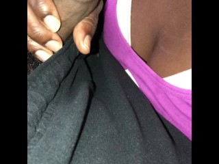 Sloppy Ebony Head and Big Booty Doggystyle on the Couch with Cumshot