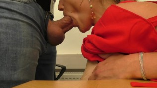 So Much Cum She Starts To Giggle – MILF Face Fuck Blowjob In The Office