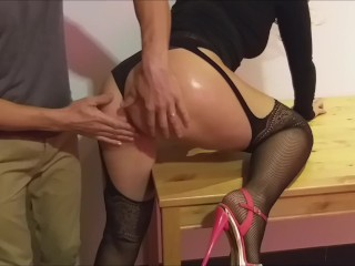 fucked with panties, high heels, she screams and cum on the ass