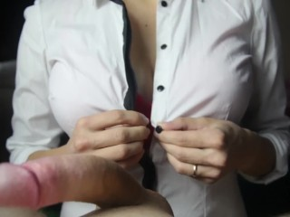 Titfuck in a red bra ends with cum between boobs