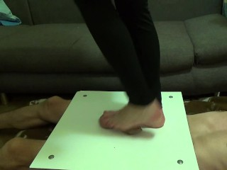 Crushed cock and balls barefoot it - CBT Trampling -part1