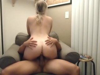 Amateur Blonde rides and moans on cock.