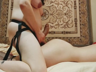 Pregnant wife hardcore fuck and dominate submissive femboy husband