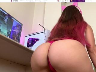 Hottest Petite fucked while plays Nutaku Games - POV slow motion cumshot